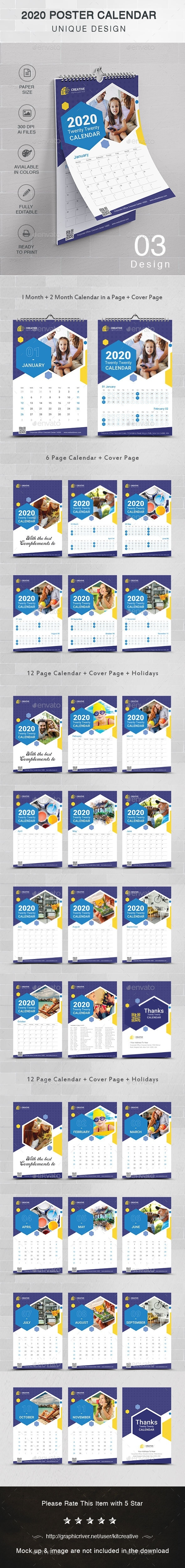 Calendar Poster Graphics, Designs & Templates From Graphicriver Calendar Template Graphic Design