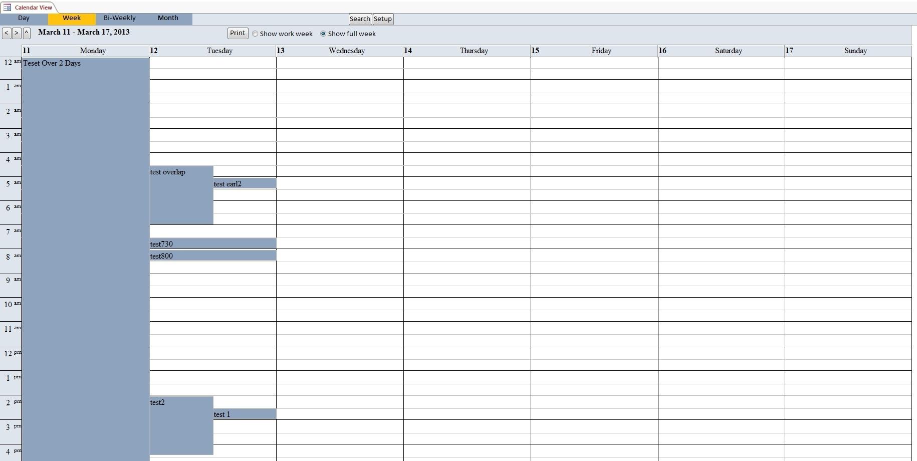 Calendar Scheduling Database Template | Calendar Software Access Calendar Report Template