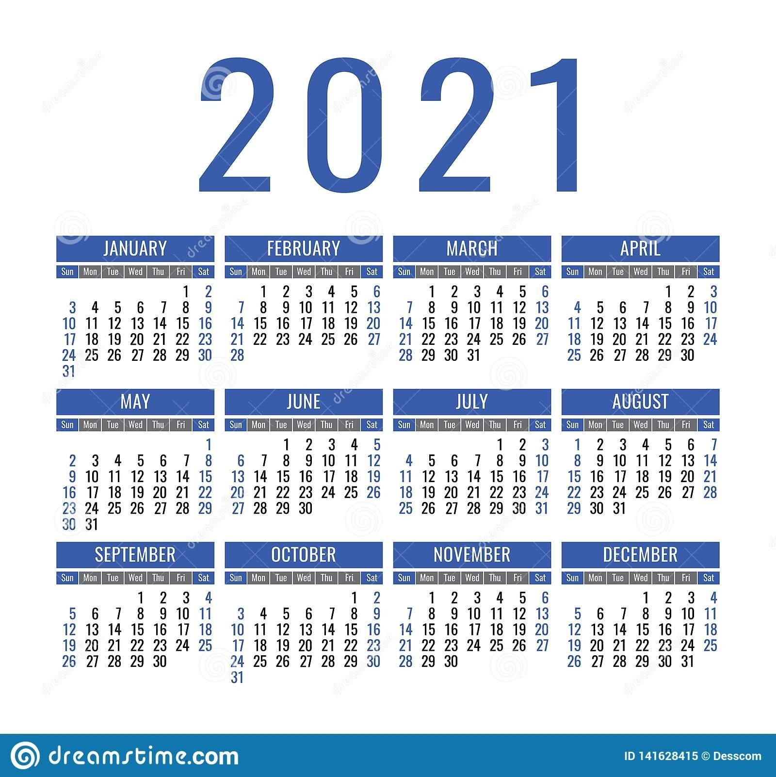 Calendario 2021 Años Plantilla Del Calendario Del Bolsillo O Calendario 2021 Con Semanas