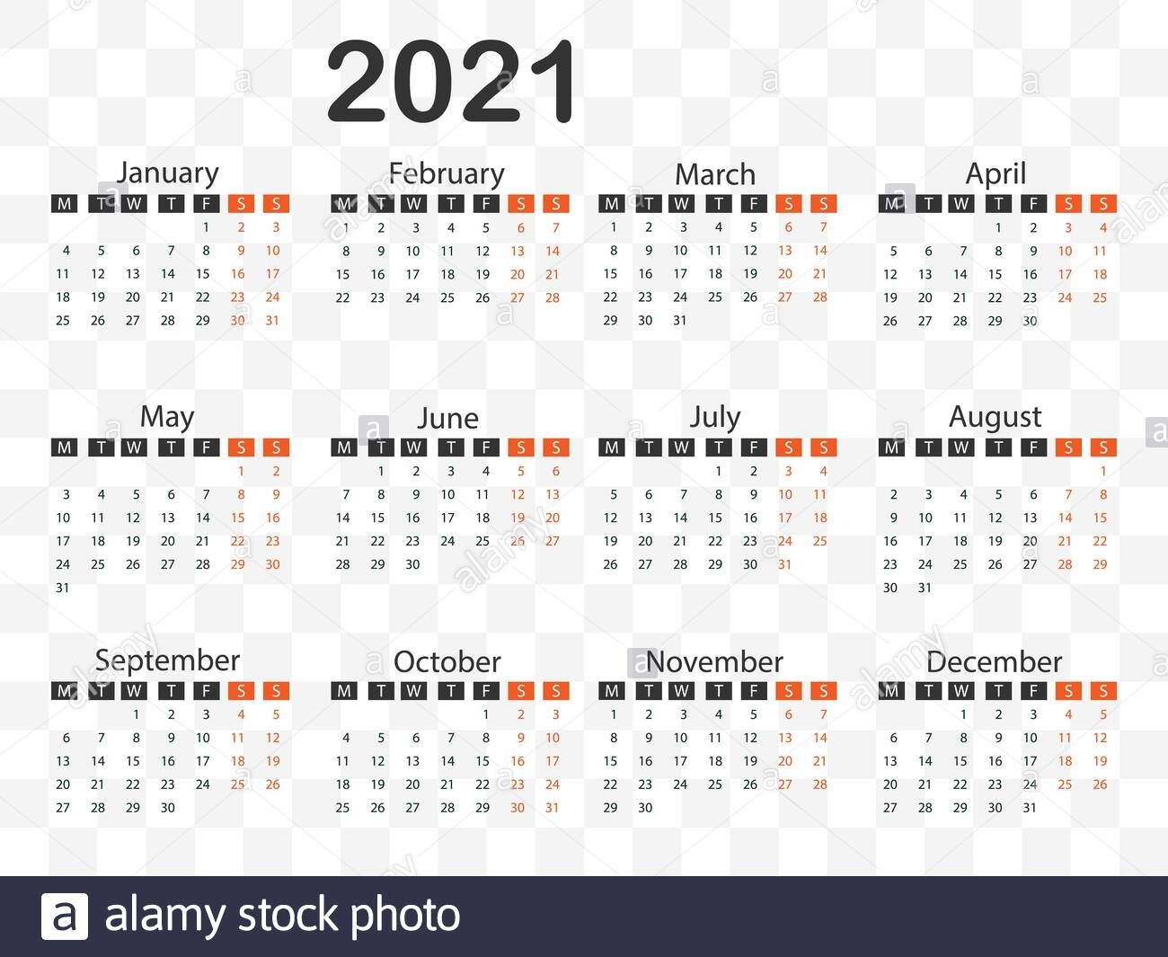 Calendario 2021, La Semana Comienza El Lunes. Ilustración Calendario 2021 Con Semanas