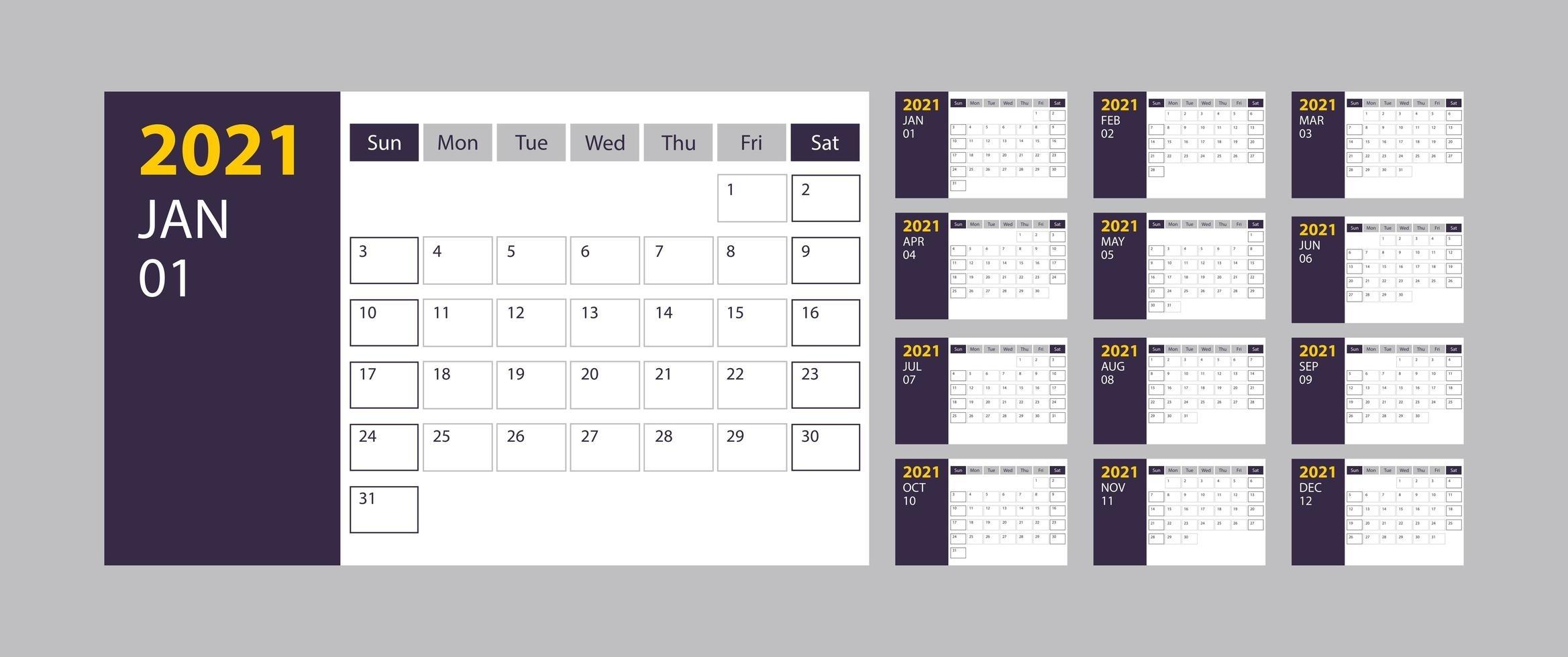 Calendario 2021 Semana Inicio Domingo Plantilla De Calendario 2021 Con Semanas