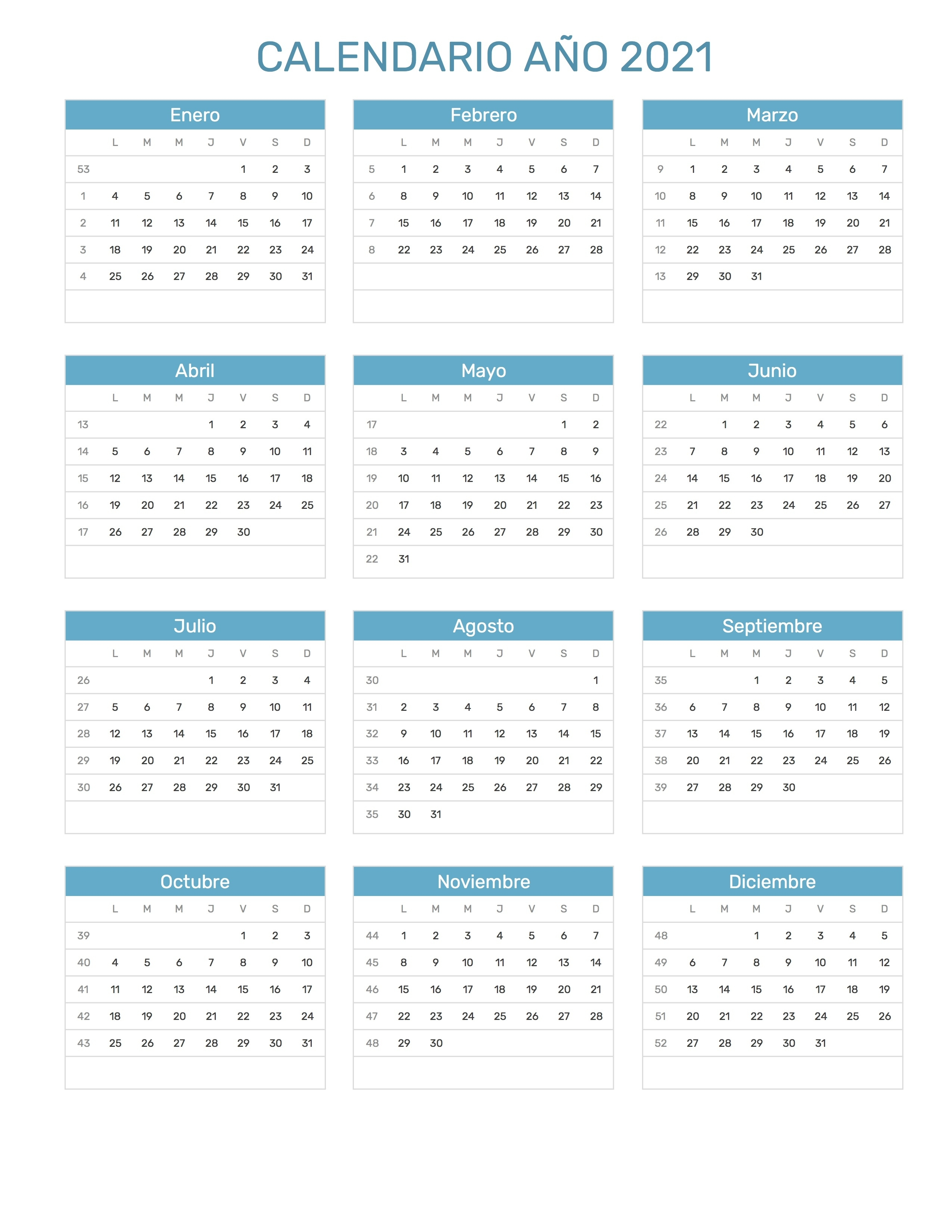 Calendario Año 2021 Calendario 2021 Con Semanas