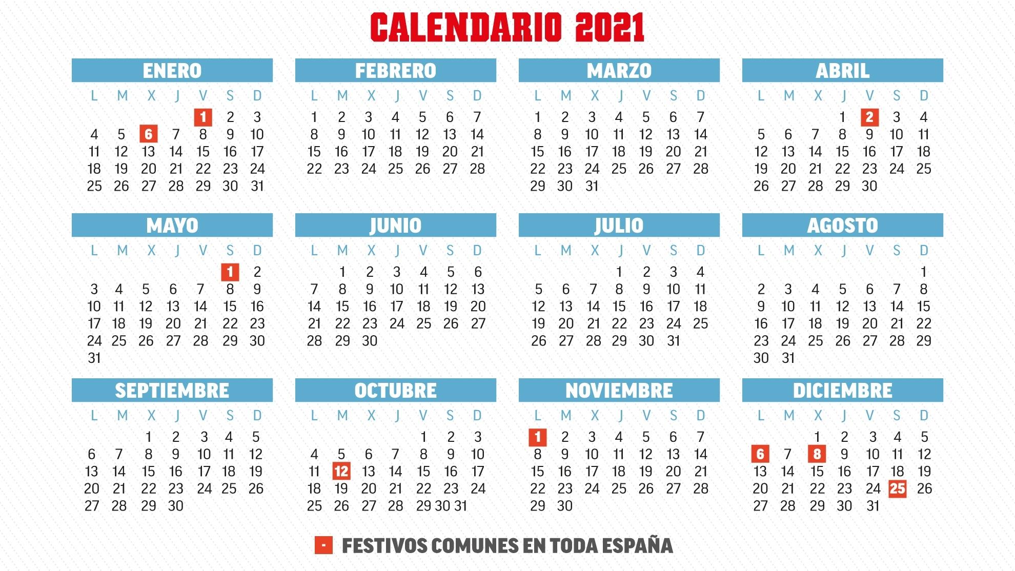 Calendario Laboral 2021 En España Y En Cada Comunidad Calendario 2021 Con Semanas