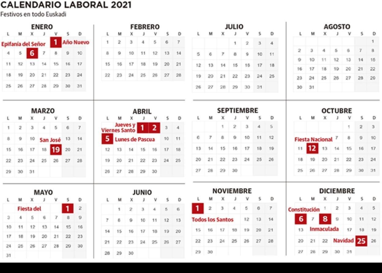 Calendario Laboral De Euskadi 2021 Con Festivos | El Diario Calendario 2021 Con Semanas