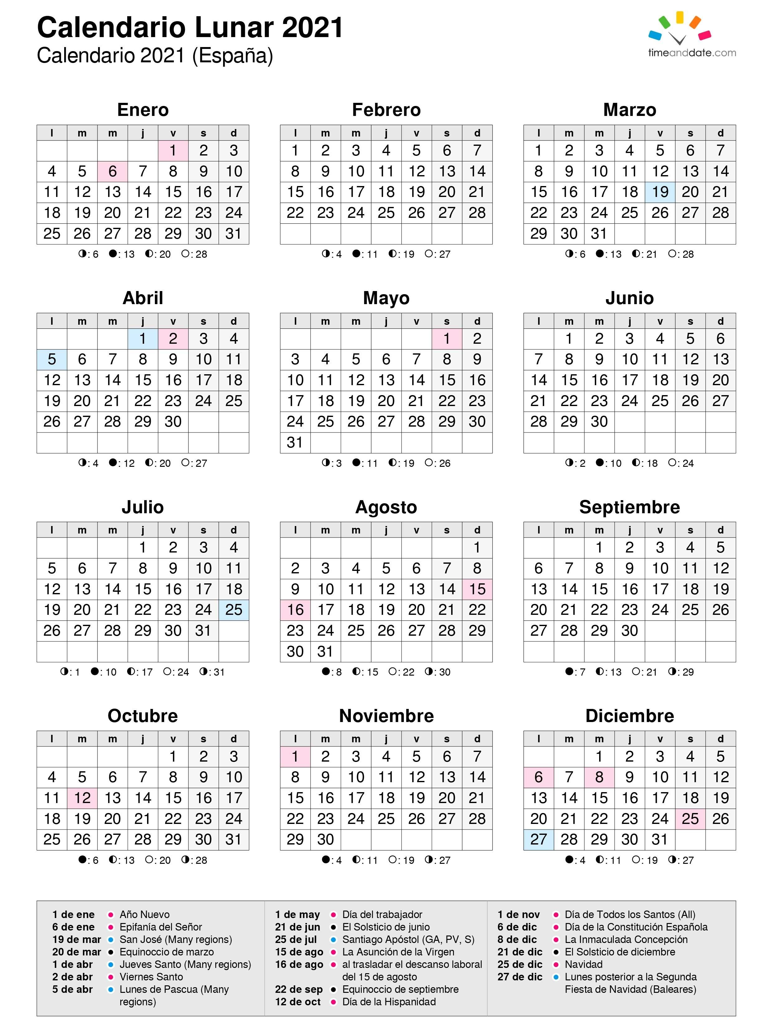 Calendario Lunar Del Año 2021 Calendario 2021 Con Semanas
