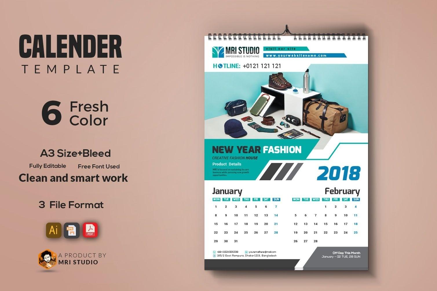 Calender Template 2018 | Calender Template, School Calendar Calendar Template Graphic Design