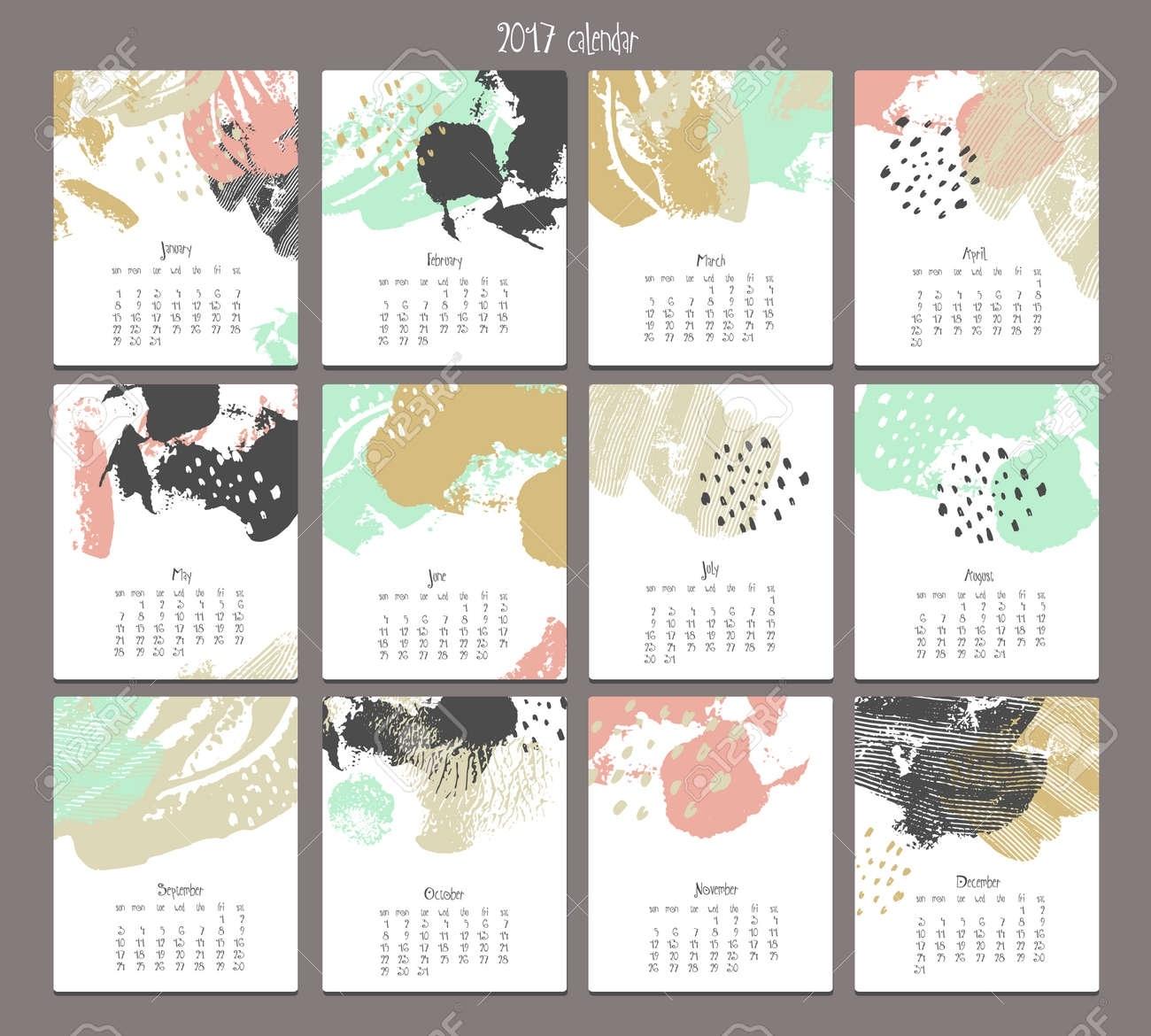 Creative Calendar 2017. Template With Different Textures. Modern.. Calendar Template Graphic Design