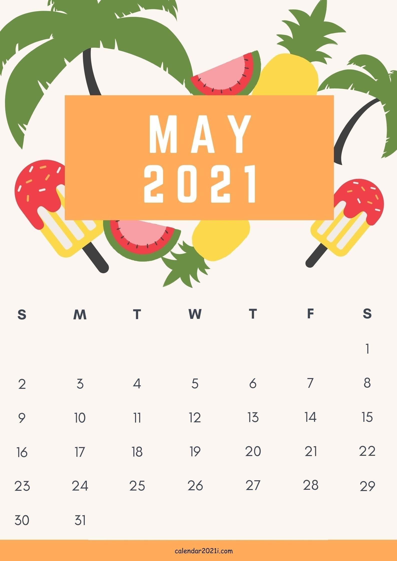 Cute May 2021 Calendar Design Template Free Download Free Calendar Background Templates