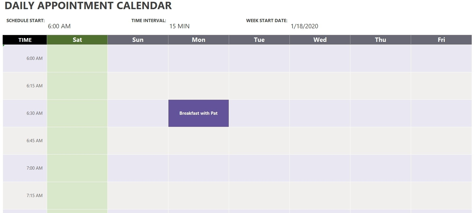 Daily Appointment Calendar Template | Excel Templates 7 Day Appointment Calendar Template