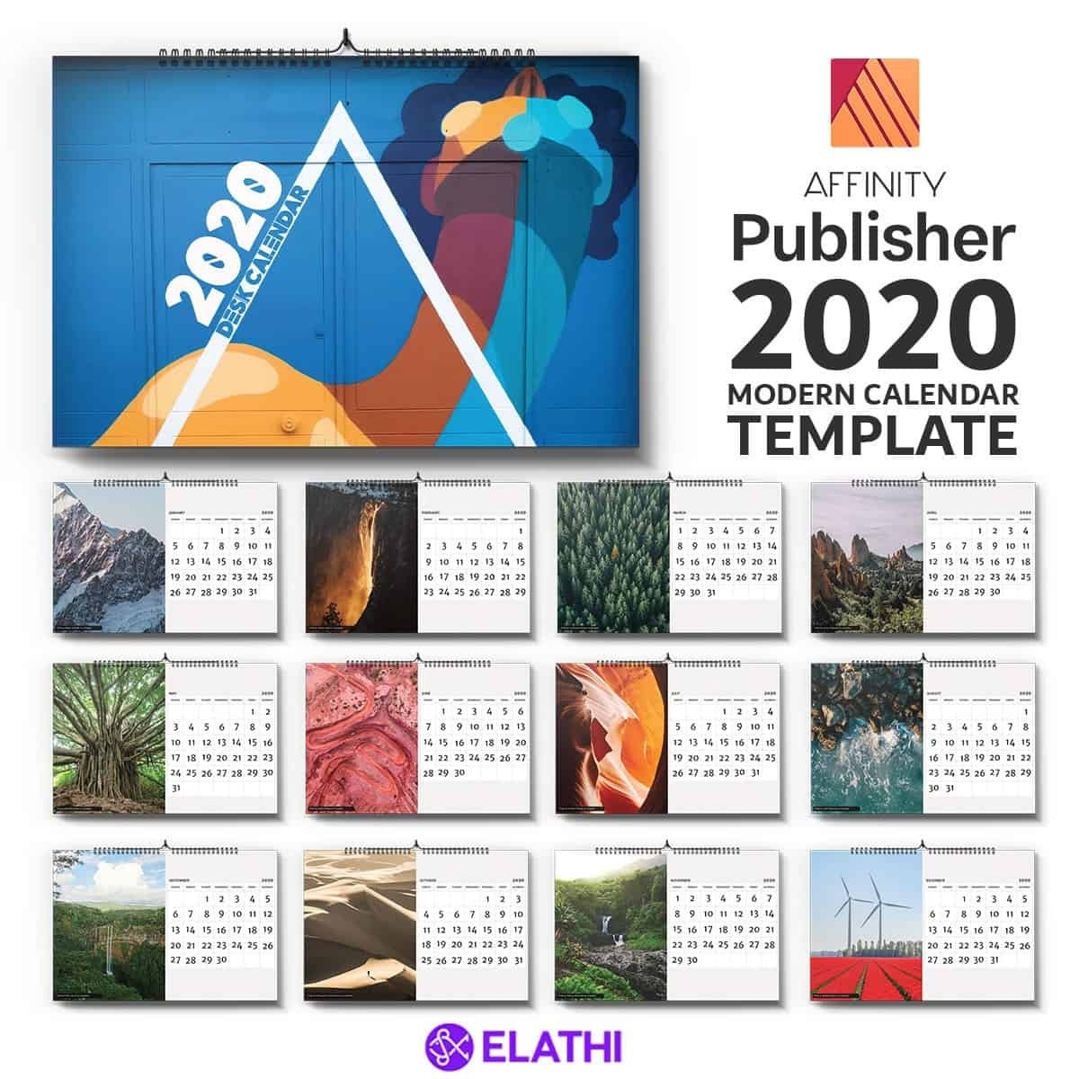 Download : 2020 Calendar Template (Affinity Publisher Calendar Template Graphic Design