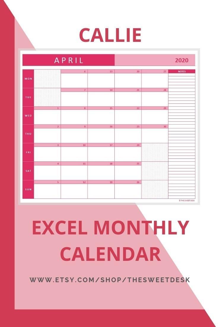 Editable 2020 Excel Calendar Template Printable Vertical Print Ready Calendar Template