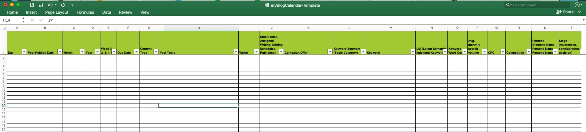 Editorial Calendar Templates For Content Marketing: The Calendar Template On Excel