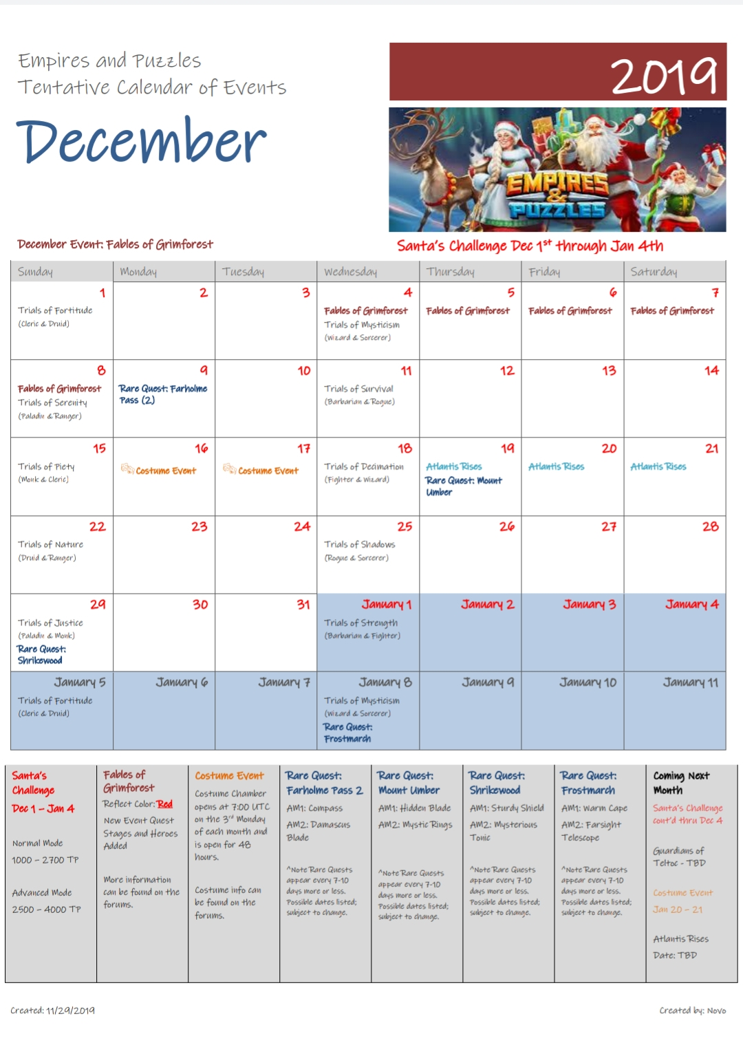 Empires And Puzzles Quest Schedule | Calendar For Planning Empires Puzzles December 2021 Calendar