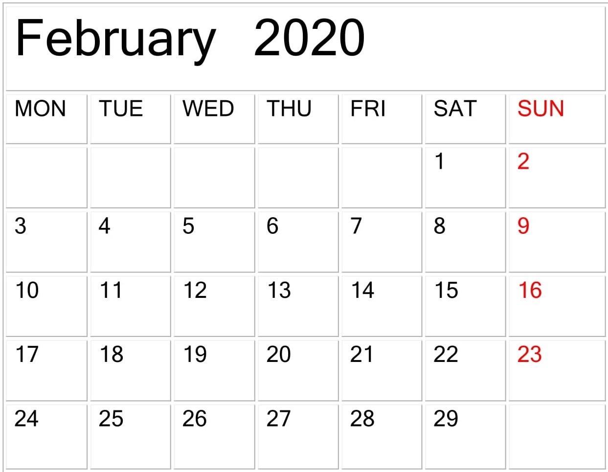 February 2020 Calendar Template Large Print - Latest Calendar Template To Print Free
