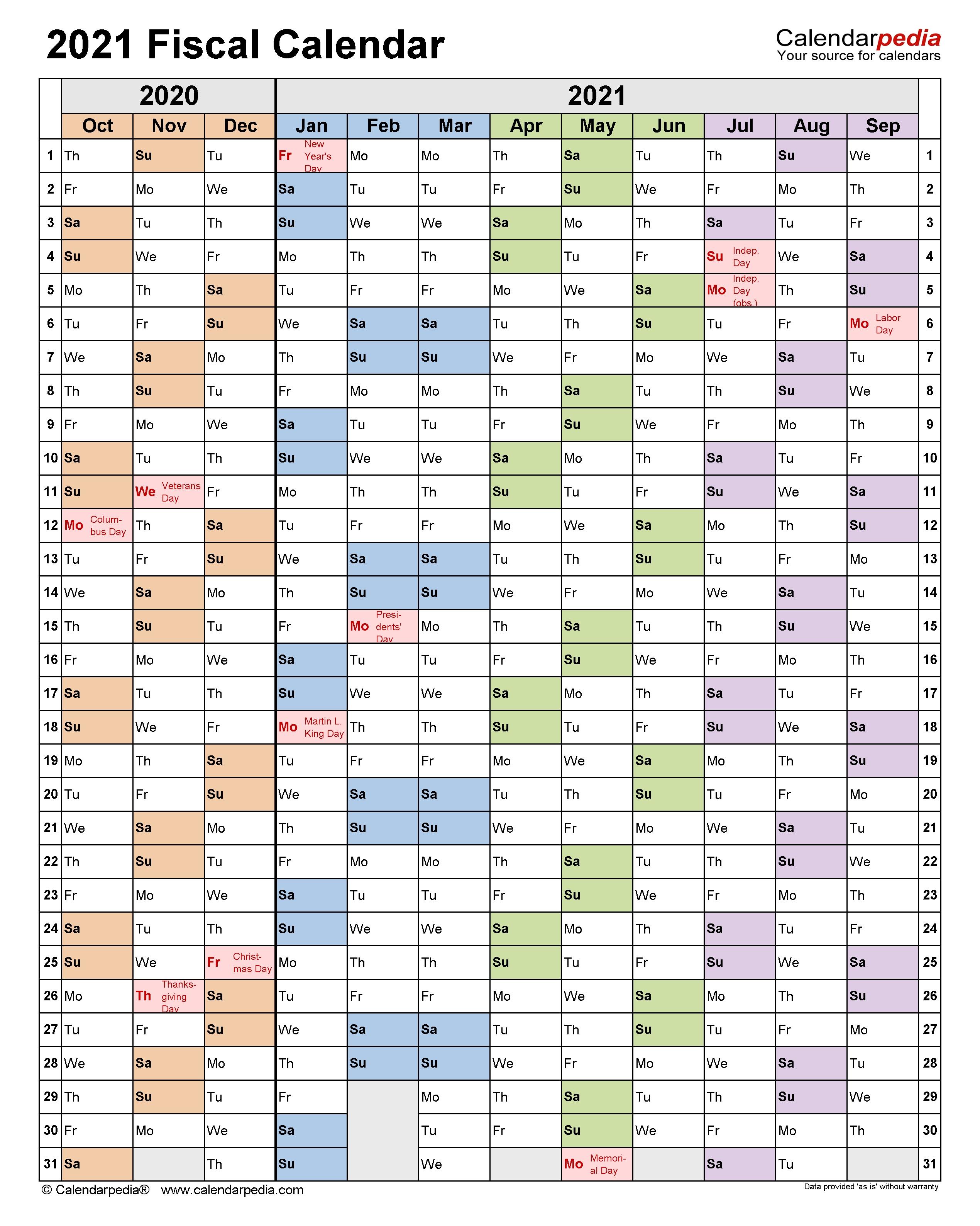 Fiscal Calendars 2021 - Free Printable Pdf Templates Q4 Calendar 2021