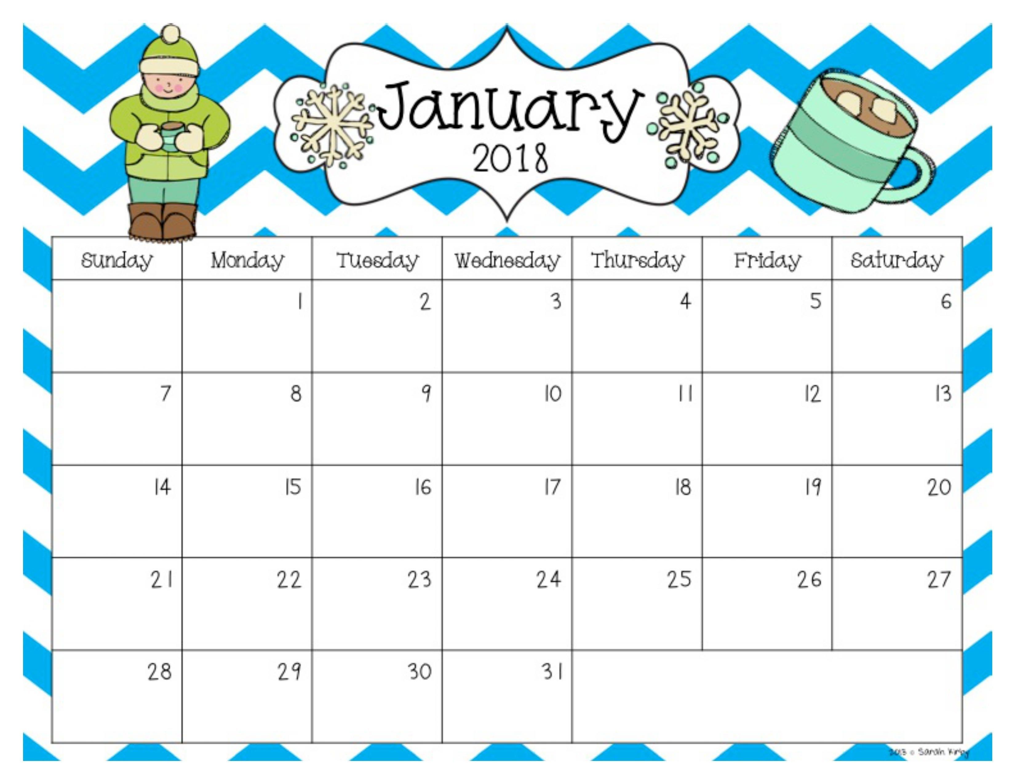 Free 2018 And 2019 Calendar | Preschool Calendar, Editable Free Pre K Calendar Template
