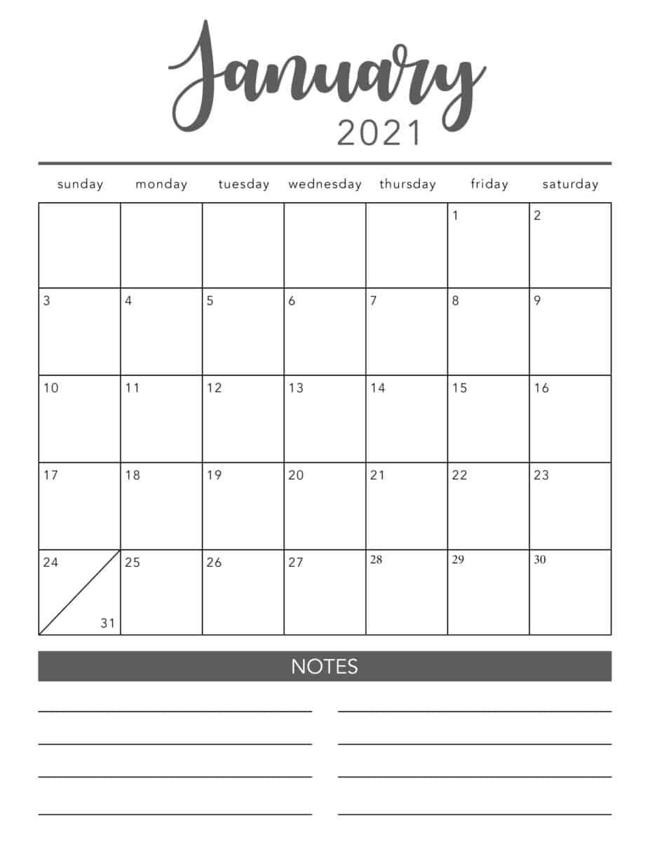 Free 2021 Printable Calendar Template (2 Colors!) - I Heart Calendar Template To Print Free