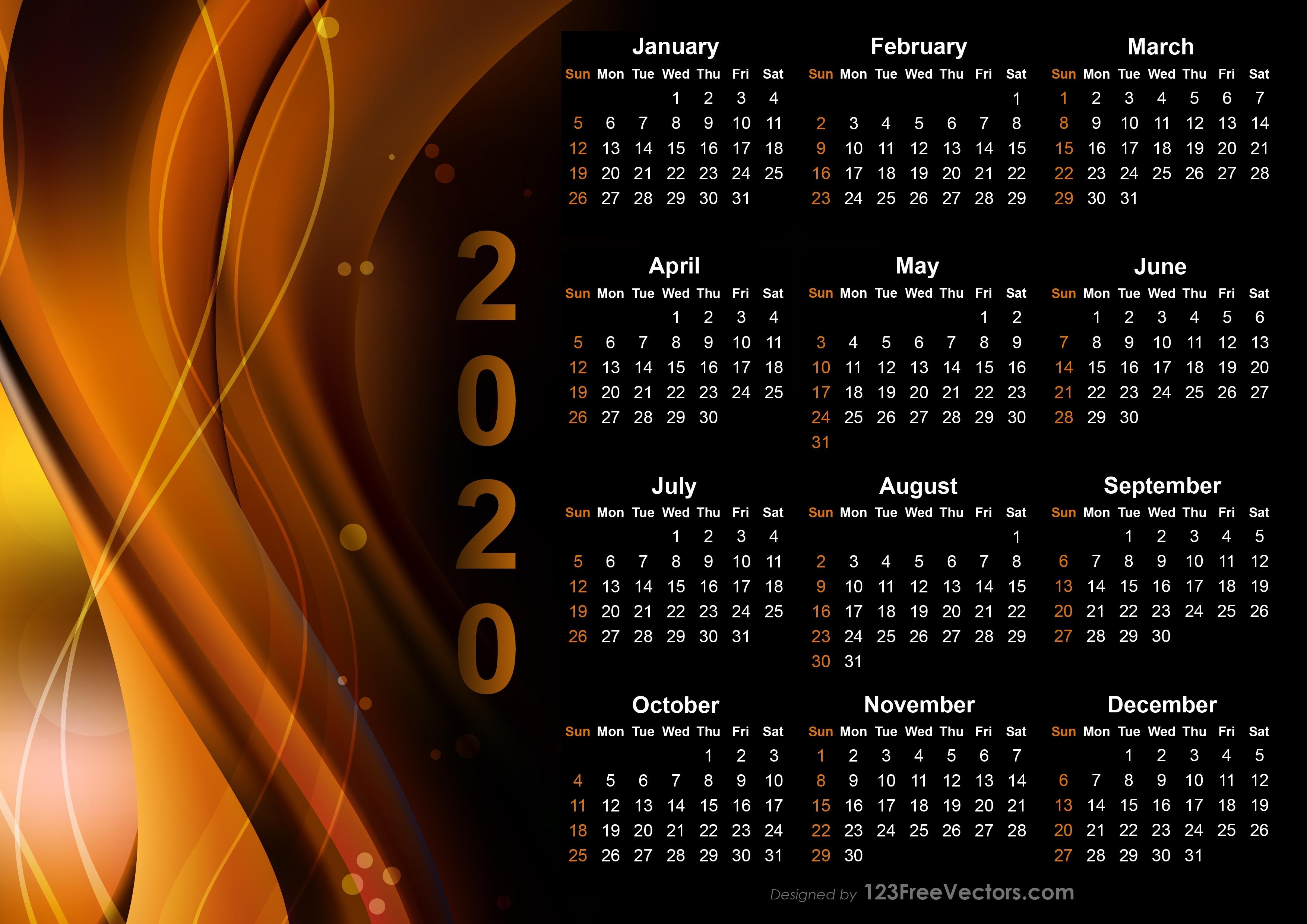Free Calendar 2020 Design Templates Free Download Free Calendar Background Templates
