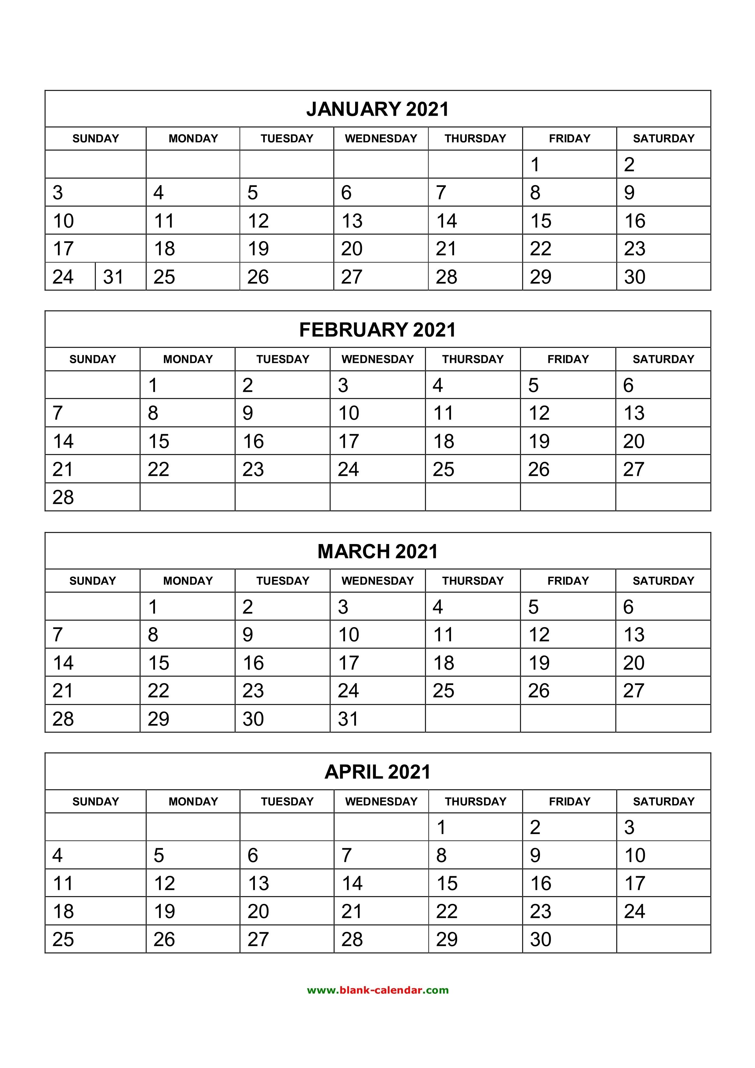 Free Download Printable Calendar 2021, 4 Months Per Page, 3 3 Month Calendar 2021
