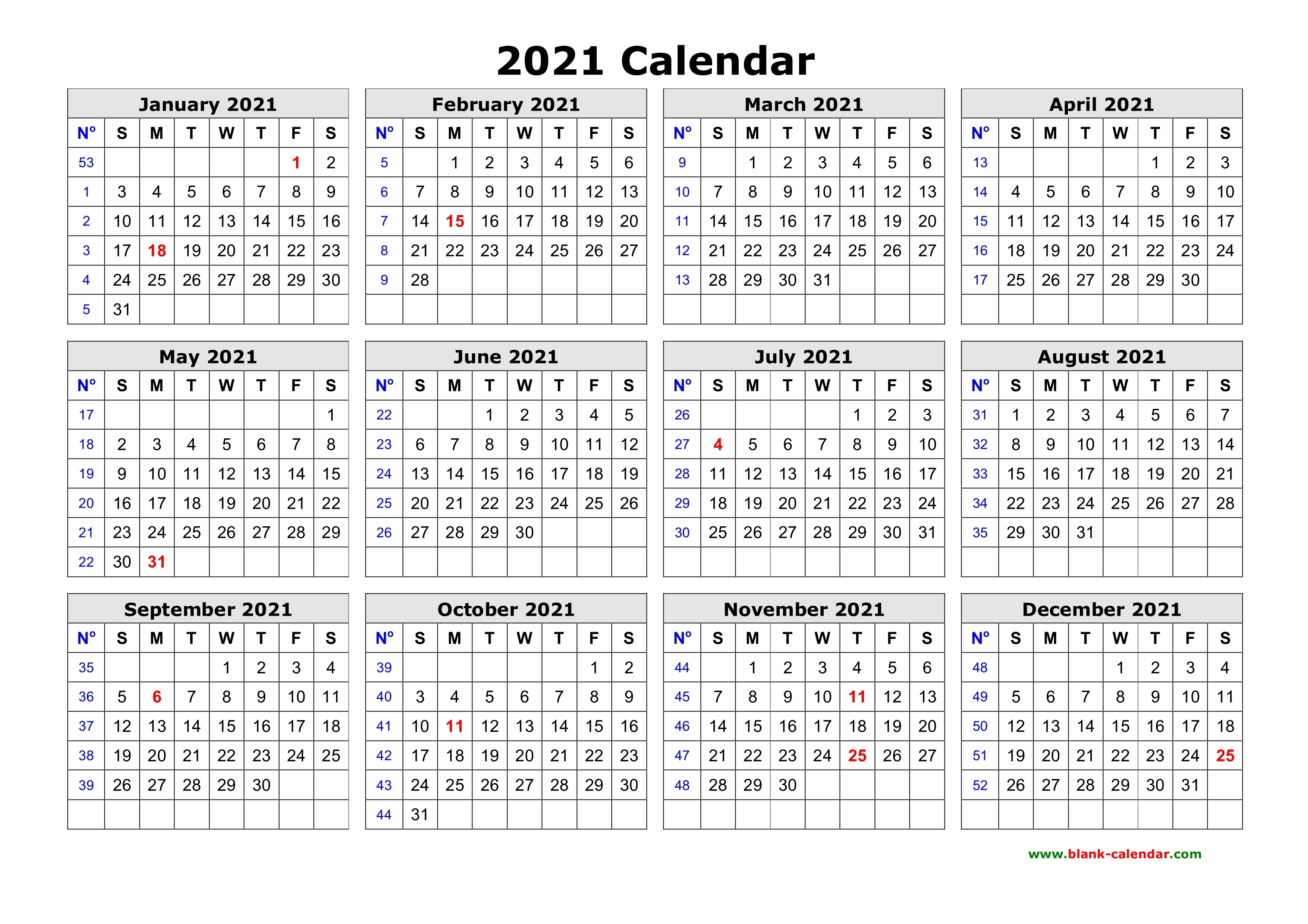 Free Download Printable Calendar 2021 In One Page, Clean Design. 1 Page Calendar Template