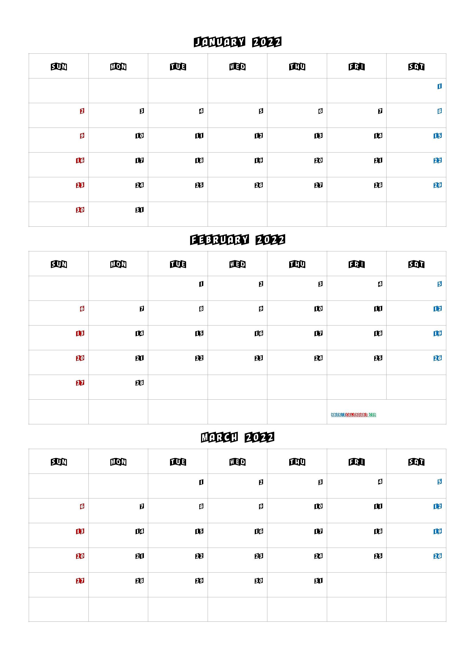 Free January February March 2022 Calendar [Q1-Q2-Q3-Q4 Q4 Calendar 2021