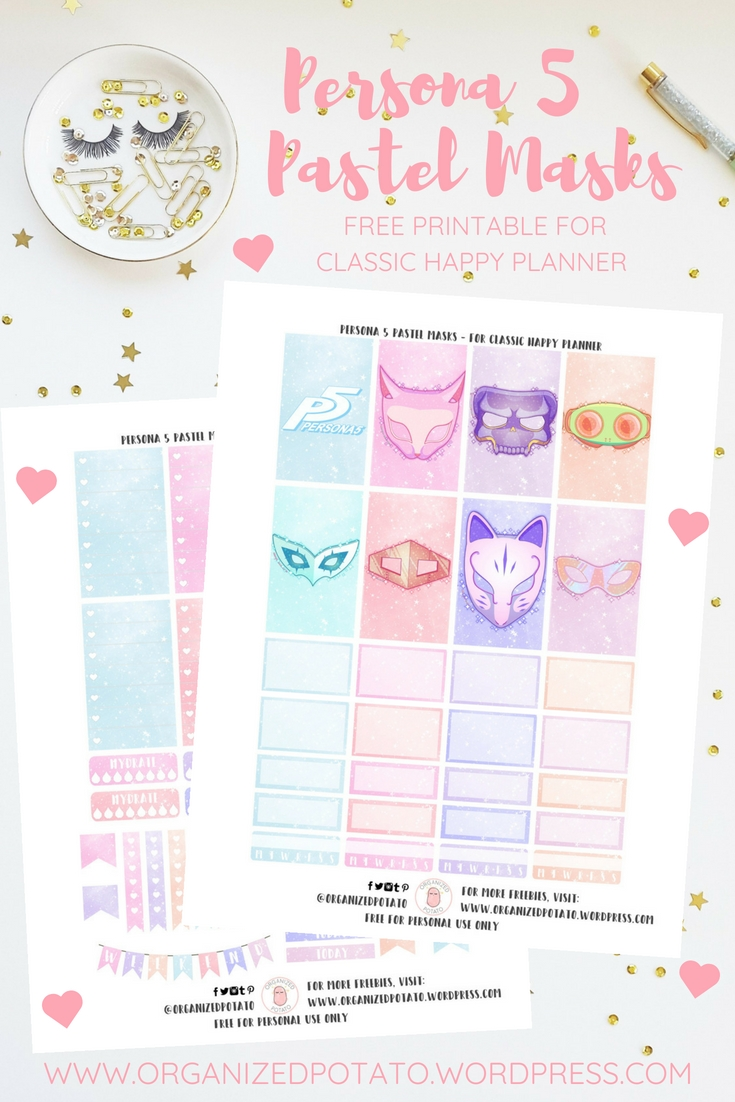 Free Planner Printable: Persona 5 Pastel Masks | Happy Persona 5 Calendar Template