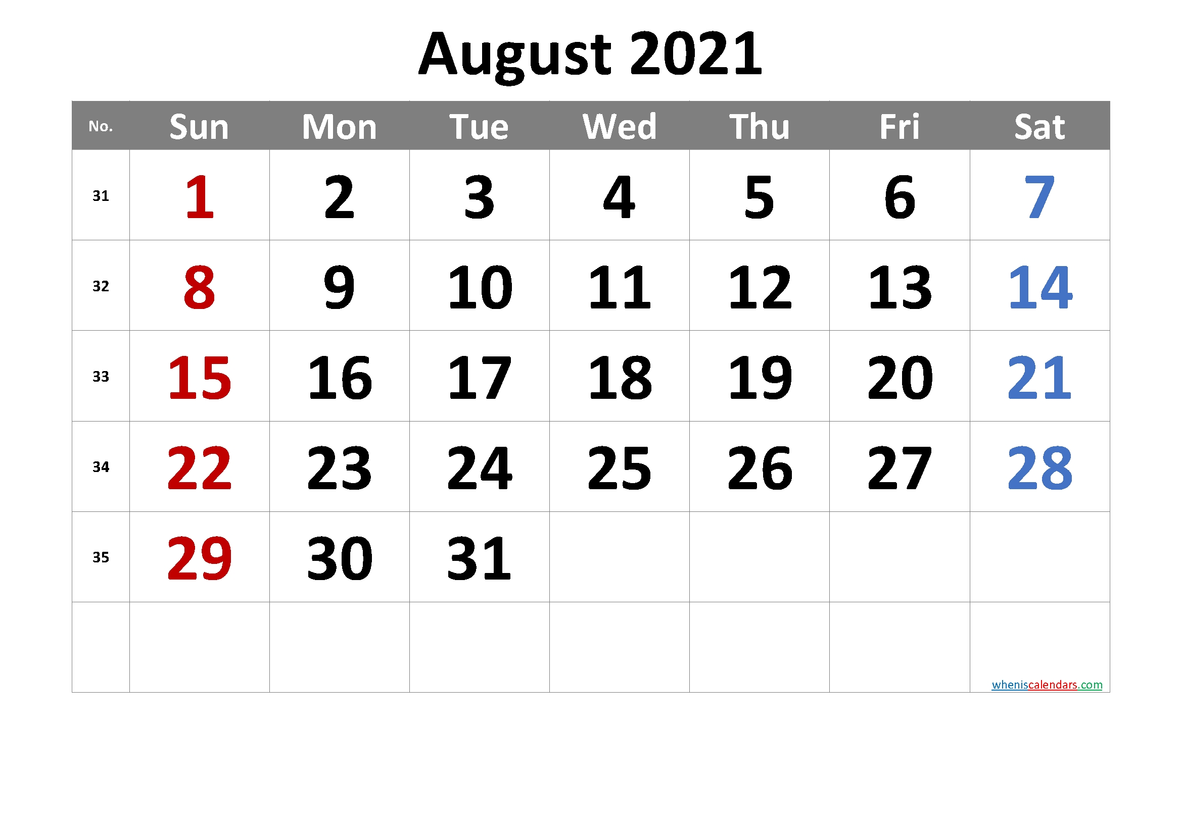 Free Printable August 2021 Calendar Free Calendars 2021 Word Doc Printable August