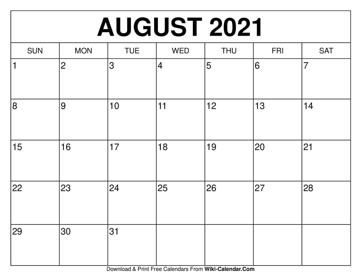 Free Printable August 2021 Calendars August 2021 Template Calendar
