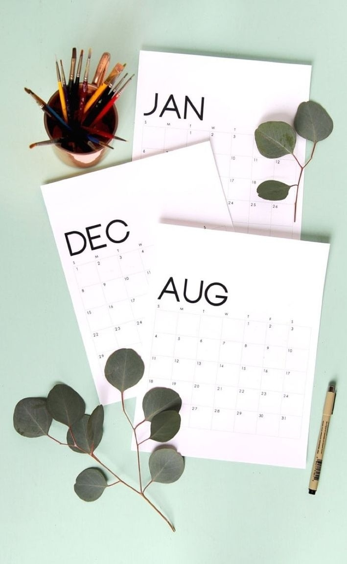 Free Printable Calendar Roundup   2019 Monthly Templates Free Calendar Background Templates