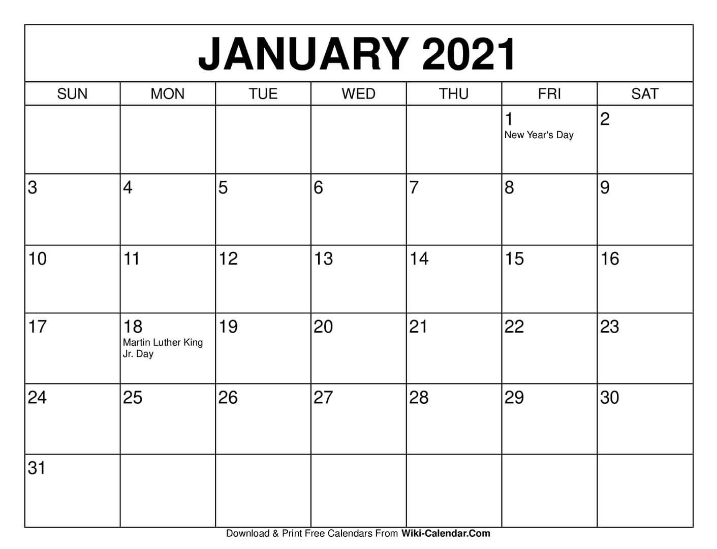Free Printable January 2021 Calendars Calendar Template To Print Free