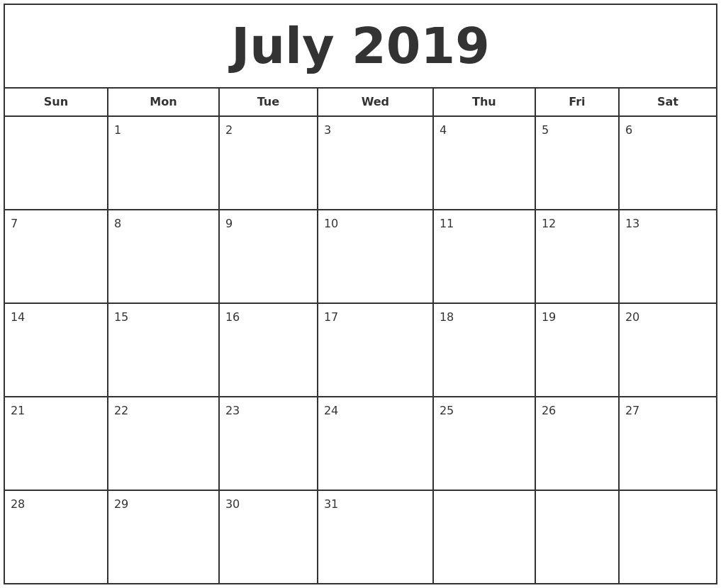 Free Printable Photo Calendar 2019 July 2019 Print Free Calendar Template To Print Free