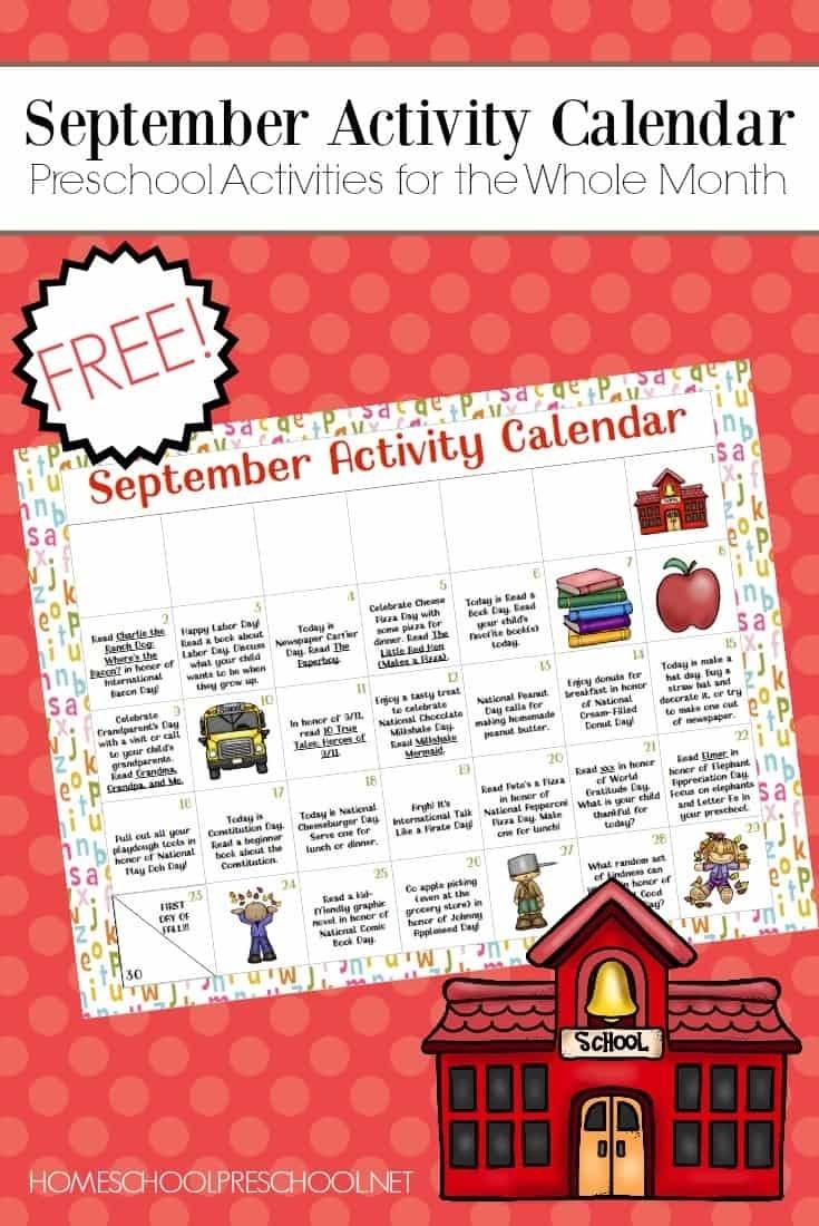 Free Printable Preschool Activity Calendar For September Pre K Calendar Template