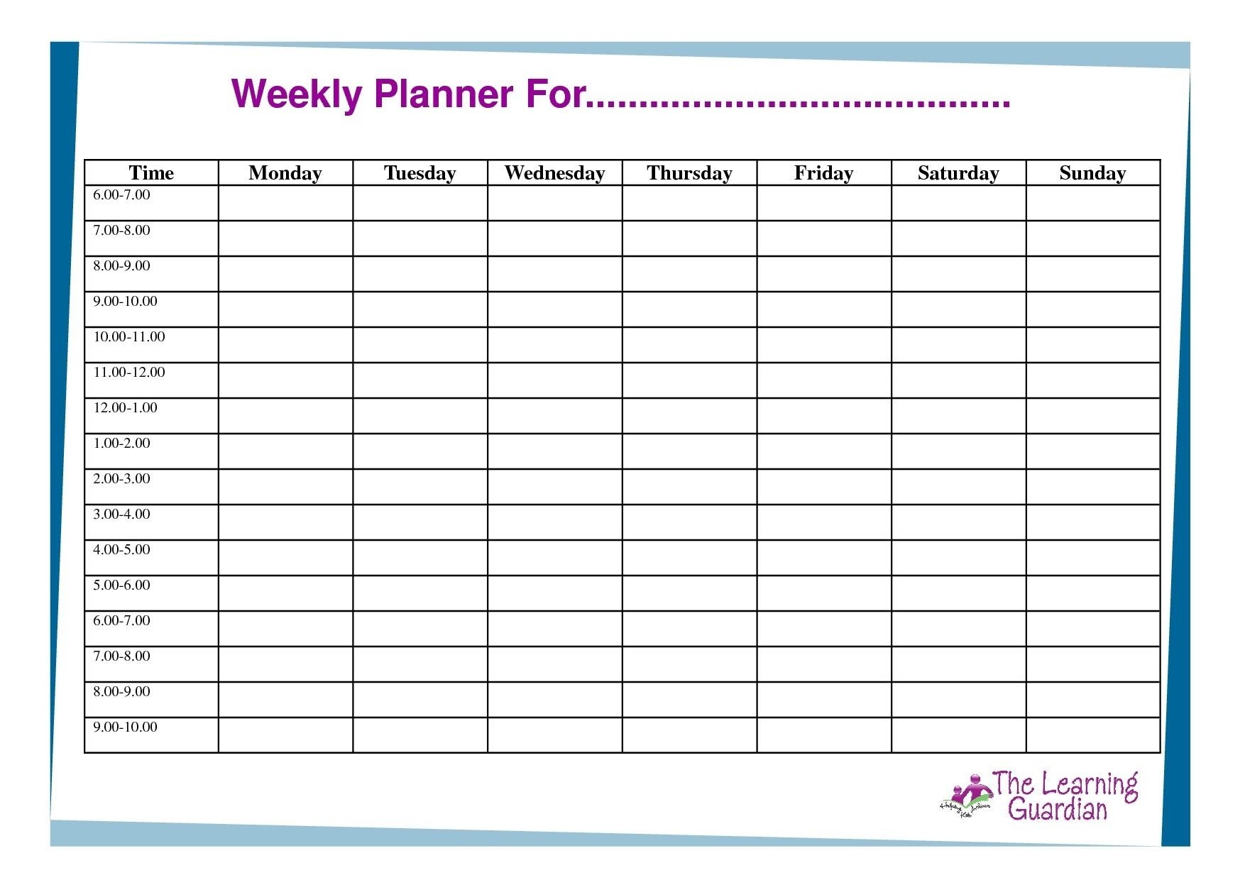 Free Printable Weekly Calendar Templates Planner For Time 7 Day Calendar Template Free