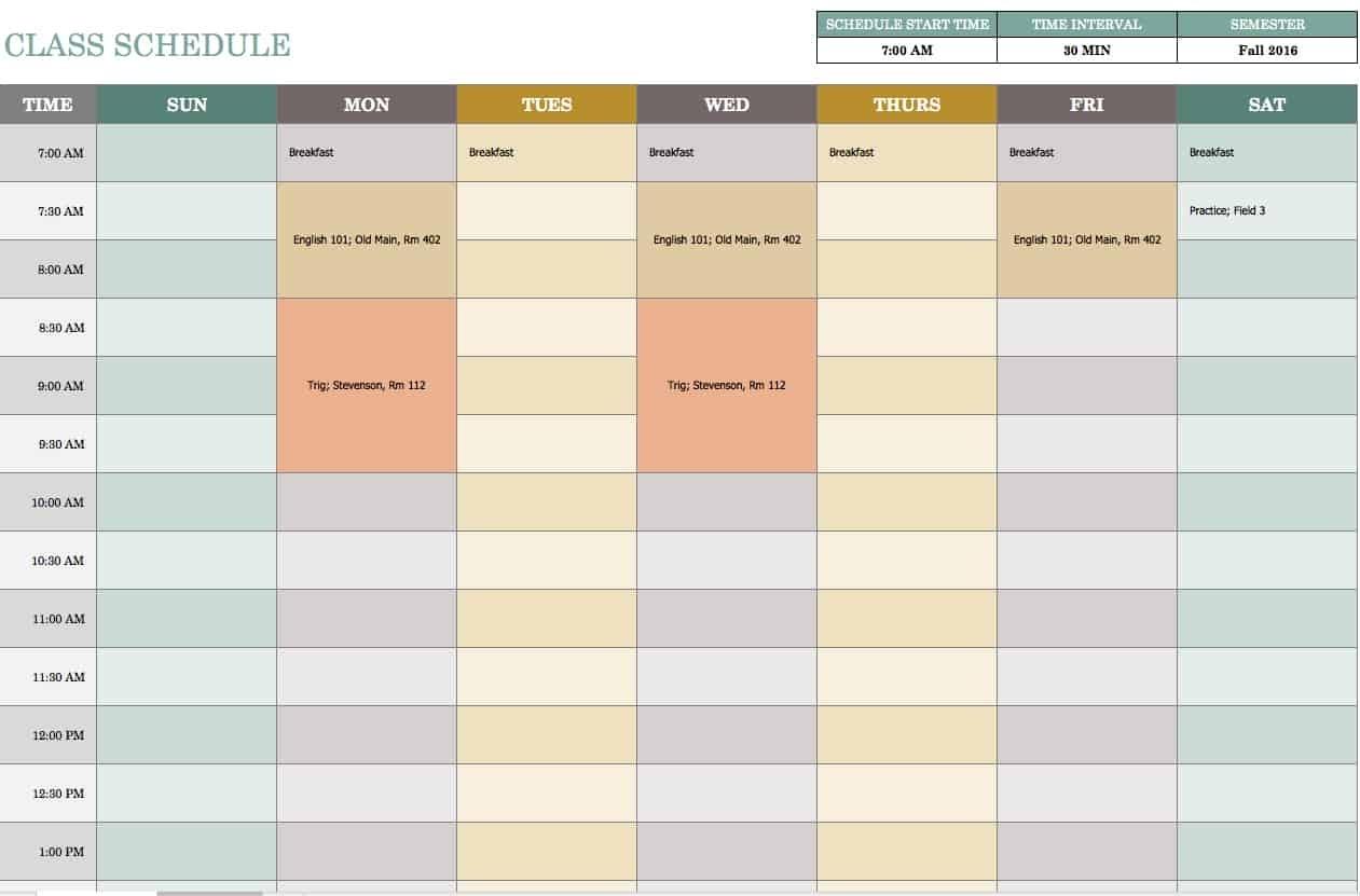 Free Weekly Schedule Templates For Excel - Smartsheet 1 Week Calendar Template Excel
