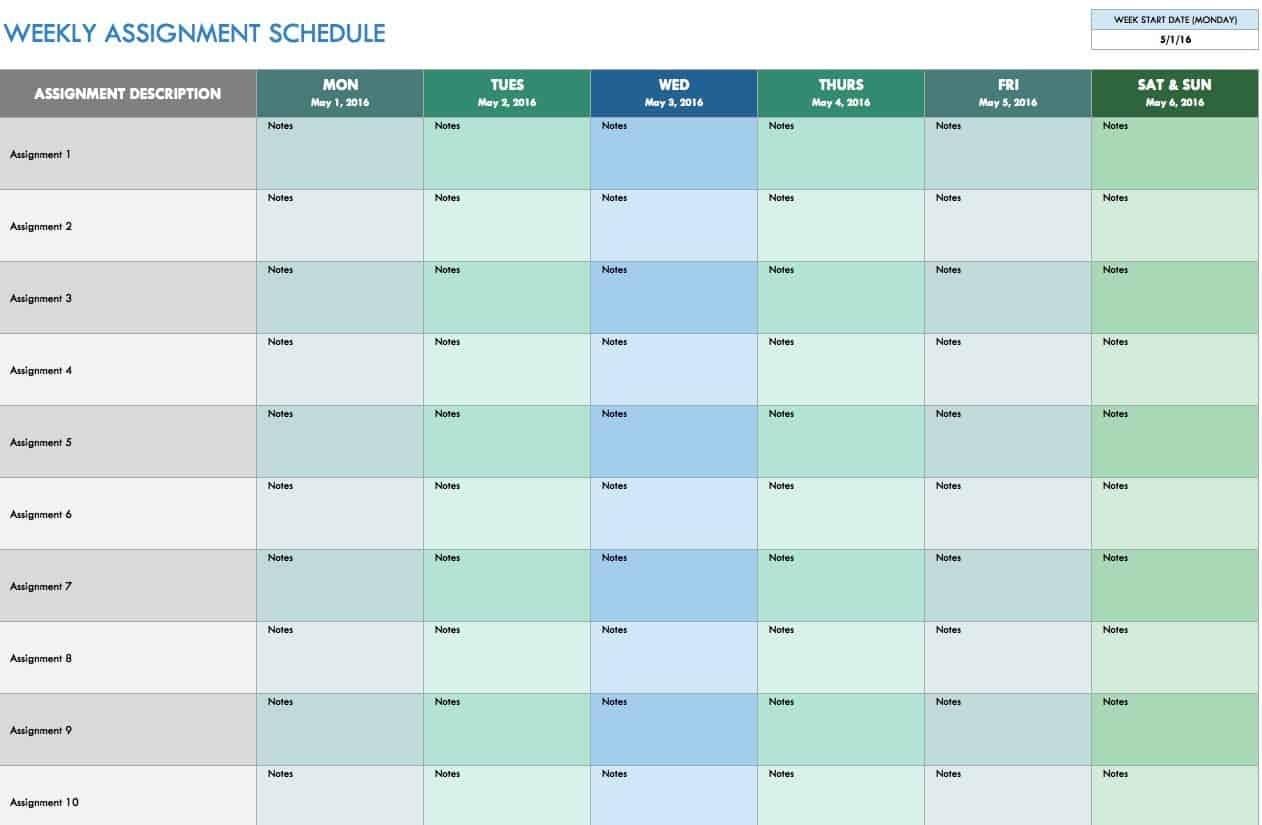 Free Weekly Schedule Templates For Excel - Smartsheet Access Calendar Report Template