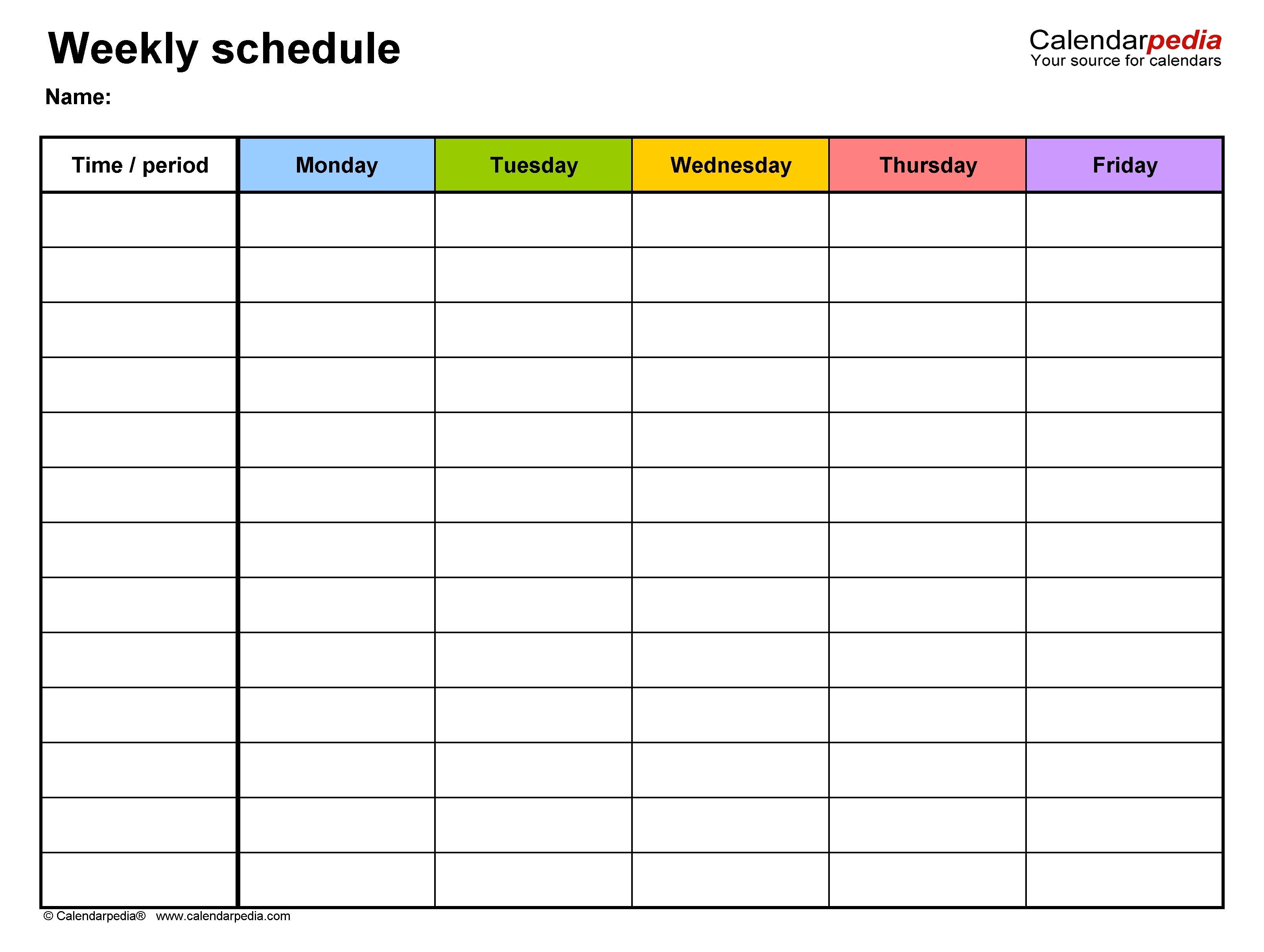 Free Weekly Schedules For Excel - 18 Templates 1 Week Calendar Template Excel