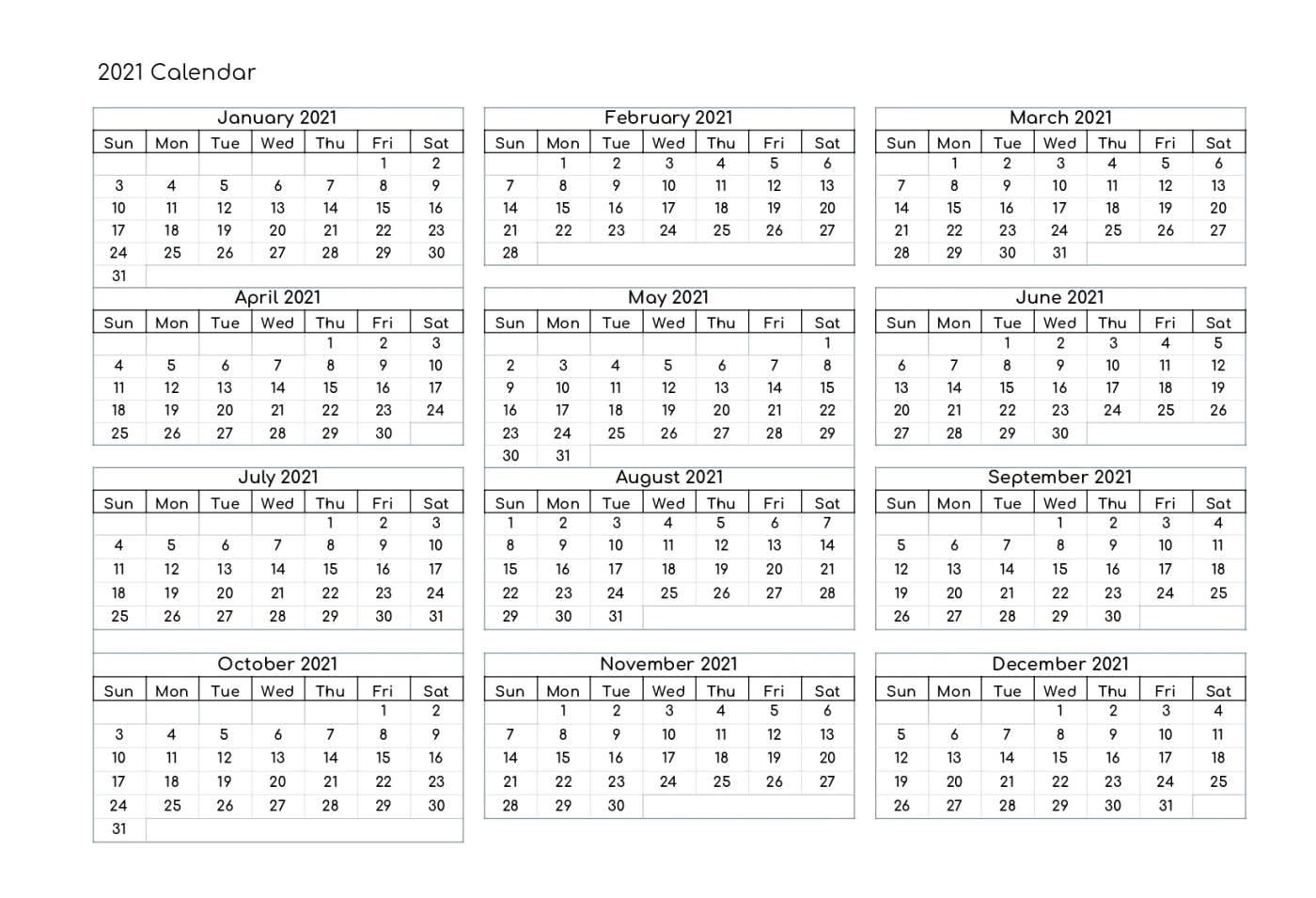 Free Yearly 2021 Calendar Printable Templates - Calendar Edu 1 Page Calendar Template