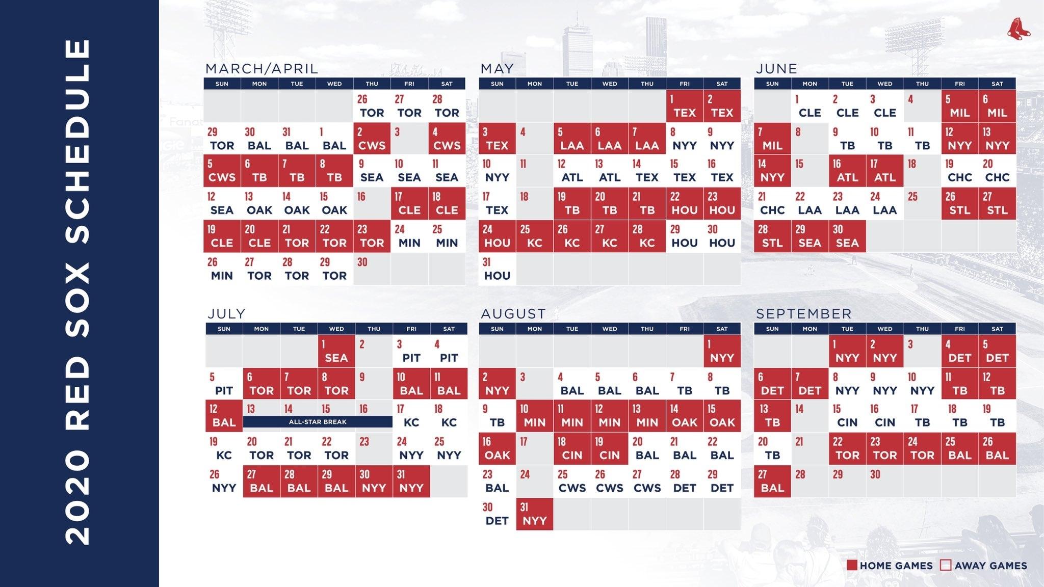 Here'S The 2020 Red Sox Schedule   Boston Atlanta Braves Printable Schedule Calendar 2021