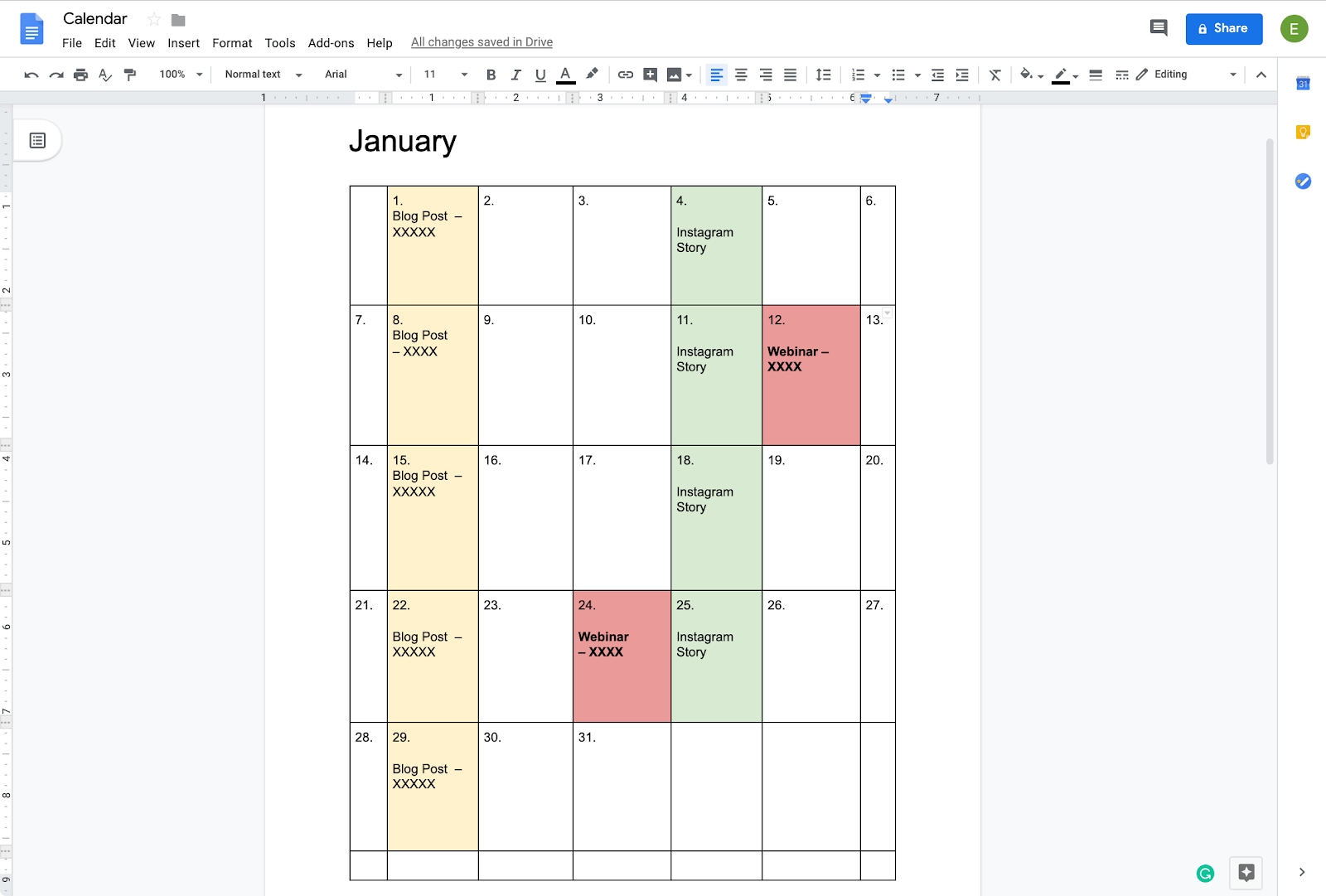 How To Create A Calendar In Google Docs | Copper Calendar Template On Google Sheets