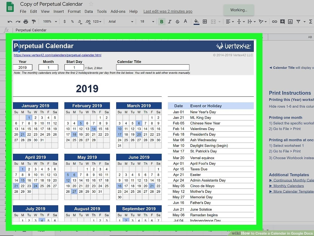 How To Create A Calendar In Google Docs (With Pictures Calendar Template On Google Sheets