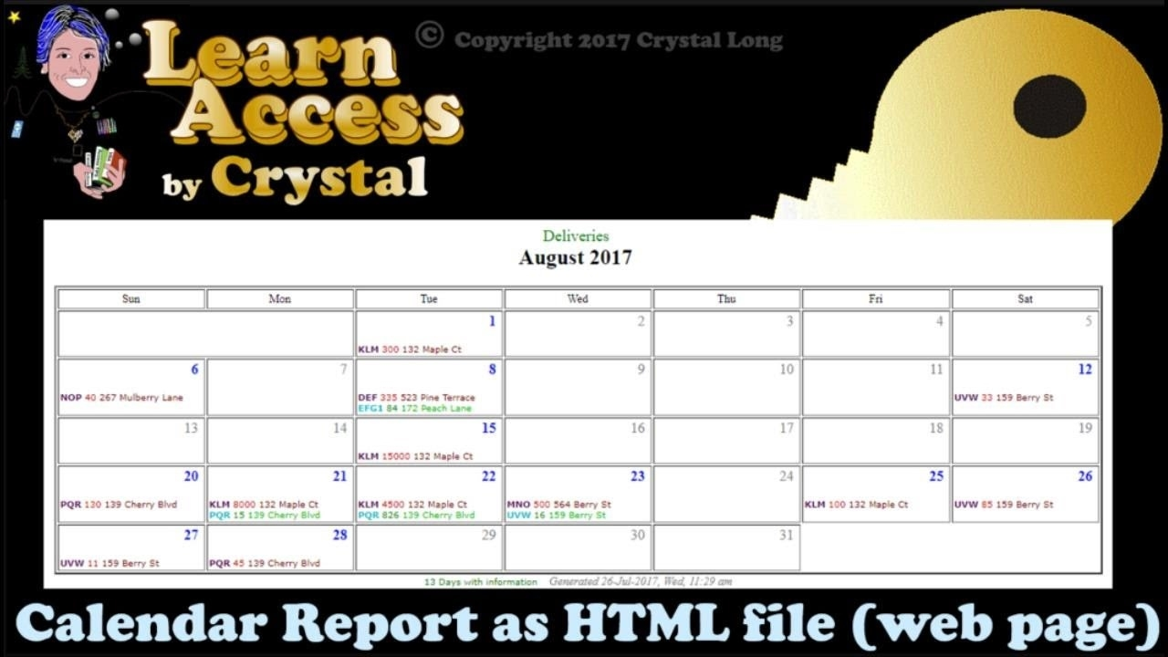 How To Create Calendar Reports From Access Queries With Dates!  As  Shareable Web Pages Access Calendar Report Template