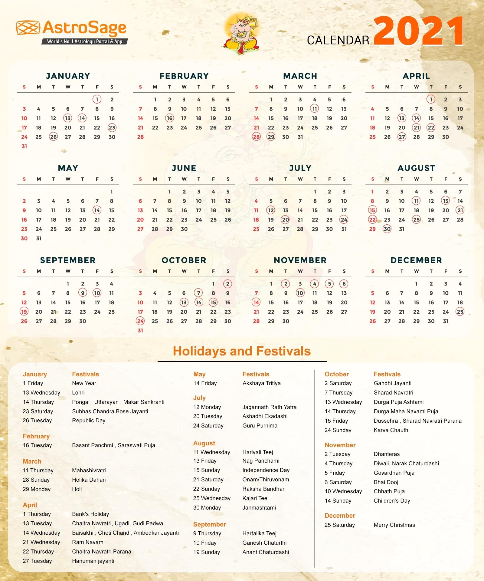 Indian Calendar 2021 - Indian Festivals & Holidays Indian Calendar Zodiac Signs