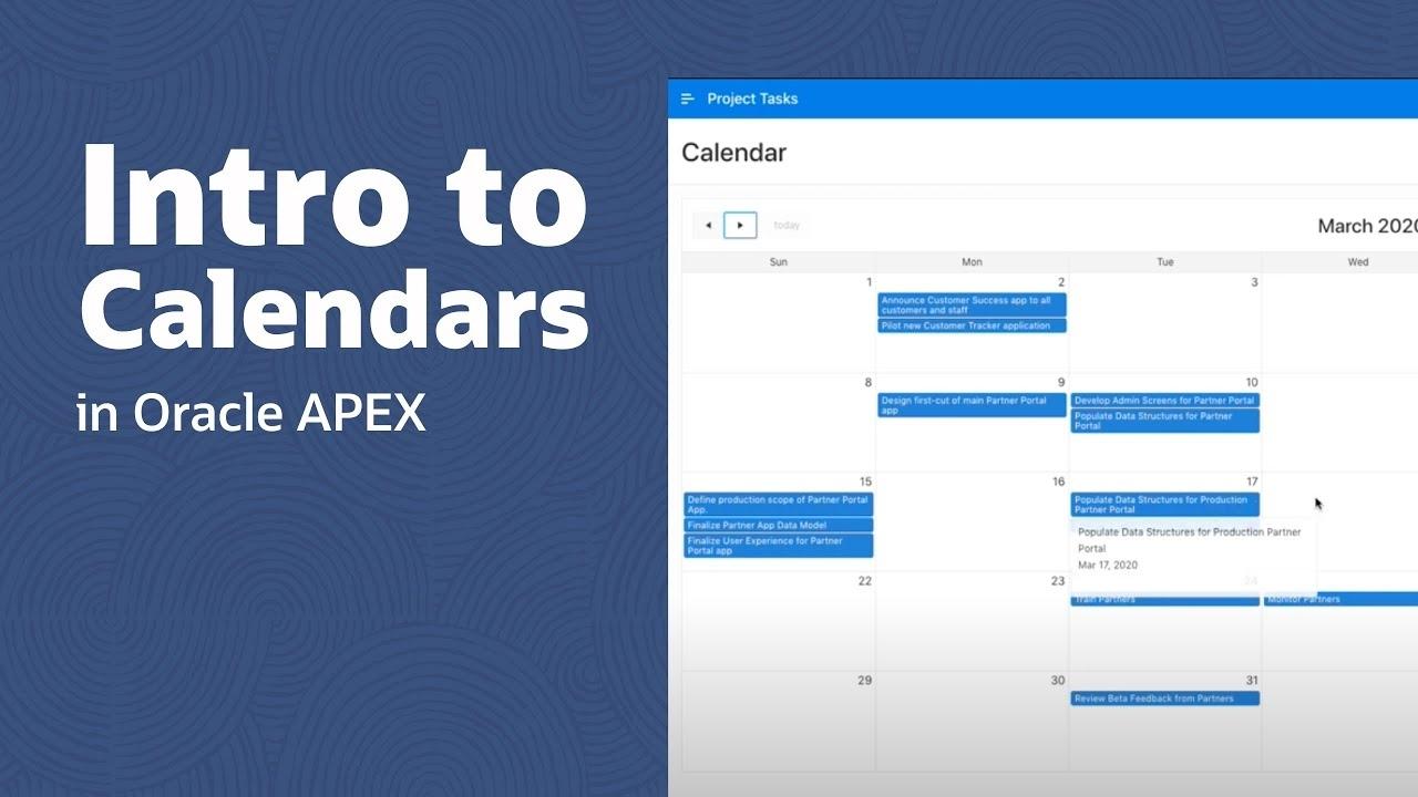 Intro To Calendars In Oracle Apex Apex 5 Calendar Template