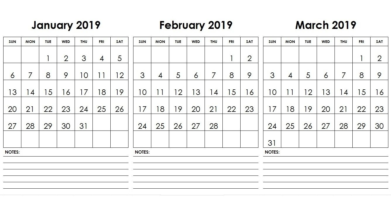 Jan Feb Mar 2019 Calendar With Notes   Calendar Template Apex 5 Calendar Template