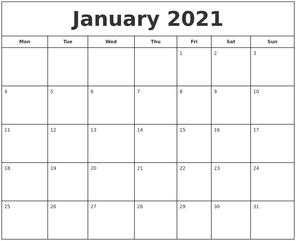 January 2021 Print Free Calendar In 2021 | Print Calendar Calendar Template To Print Free