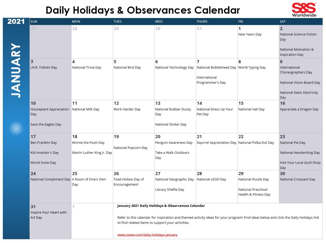 January Daily Holidays & Observances Printable Calendar National Awareness Calendar For 2021