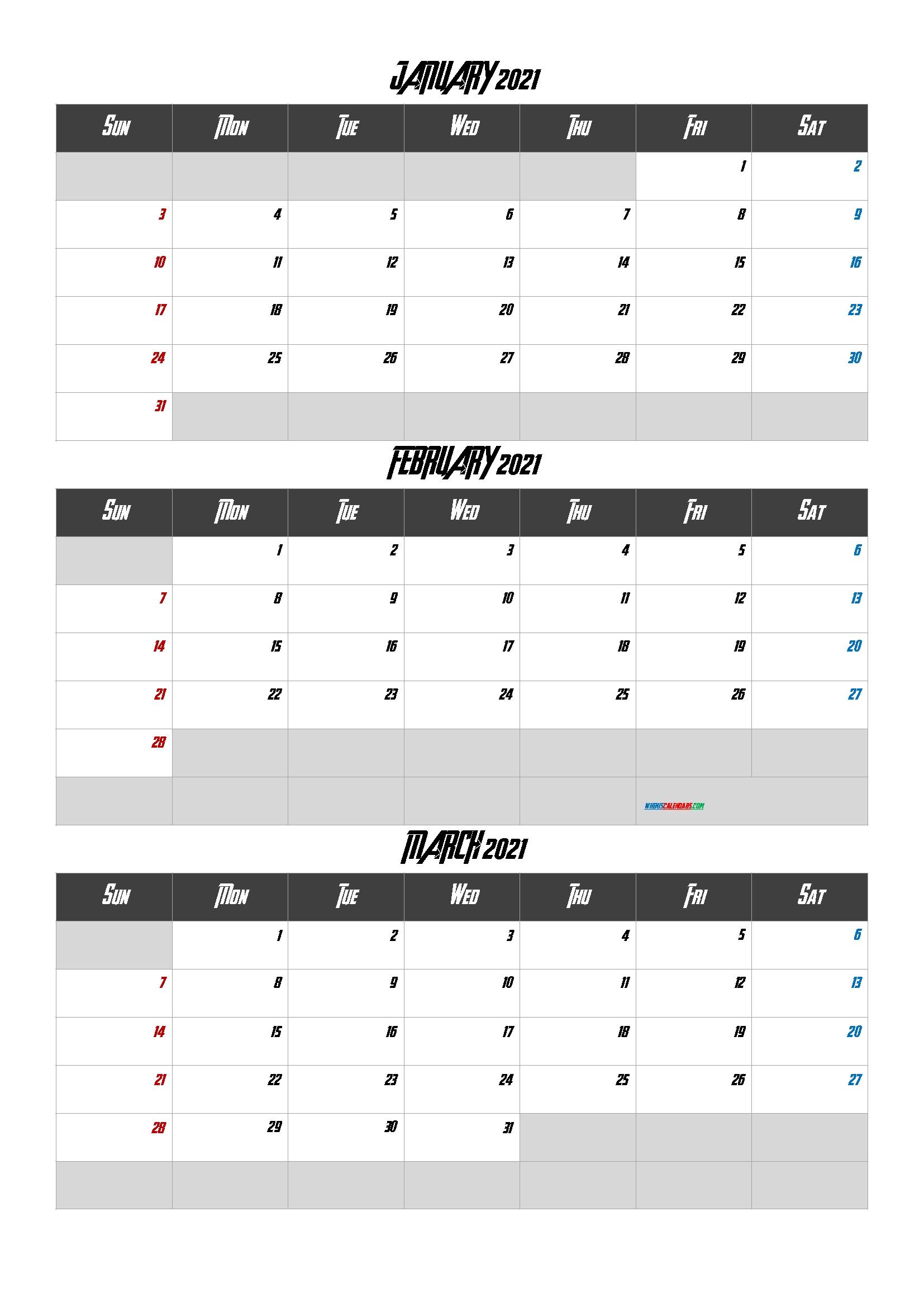 January February March 2021 Printable Calendar [Q1-Q2-Q3-Q4] Q4 Calendar 2021