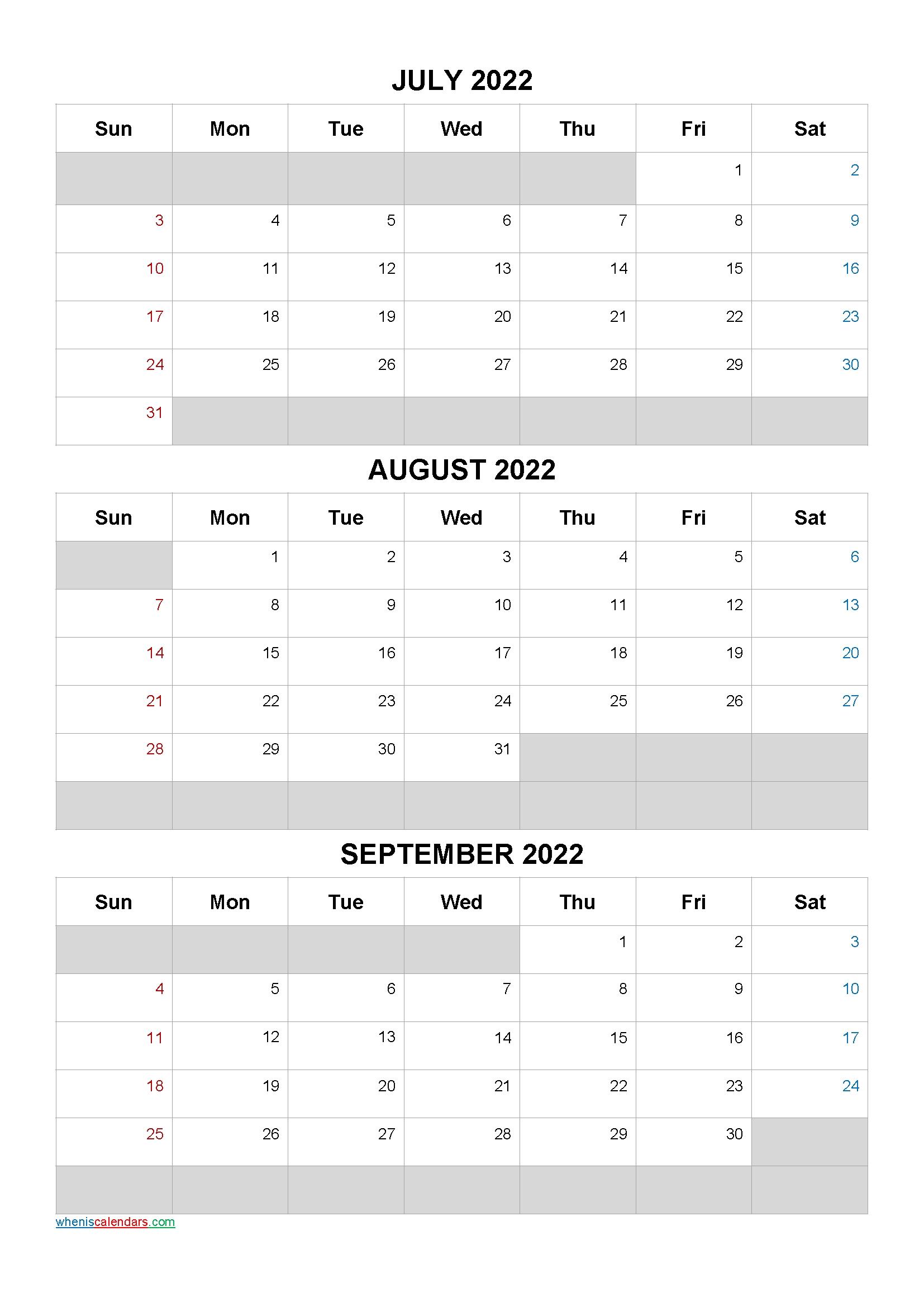 July August September 2022 Calendar Template [Q1-Q2-Q3-Q4 Q4 Calendar 2021