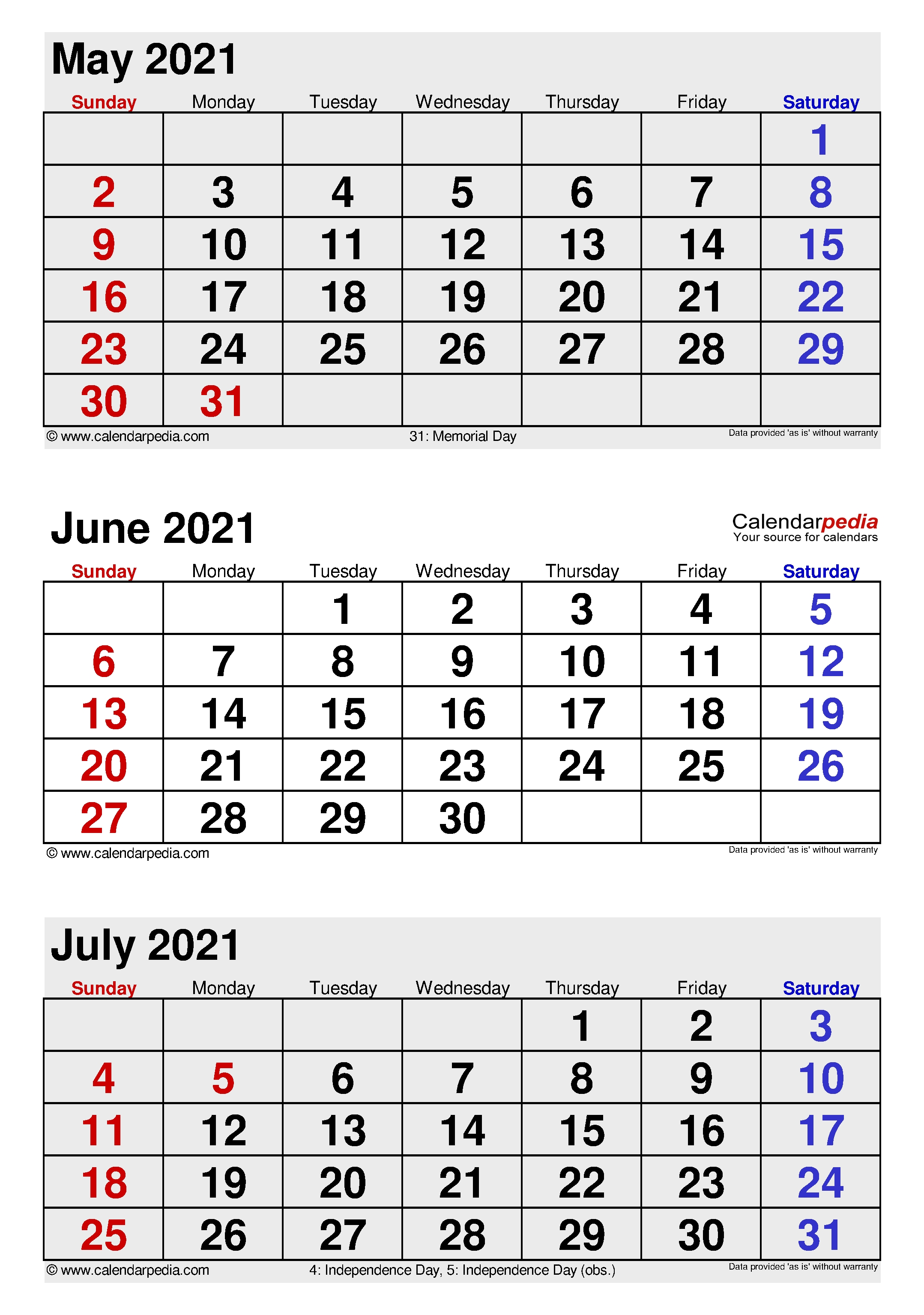 June 2021 Calendar | Templates For Word, Excel And Pdf 3 Month Calendar 2021