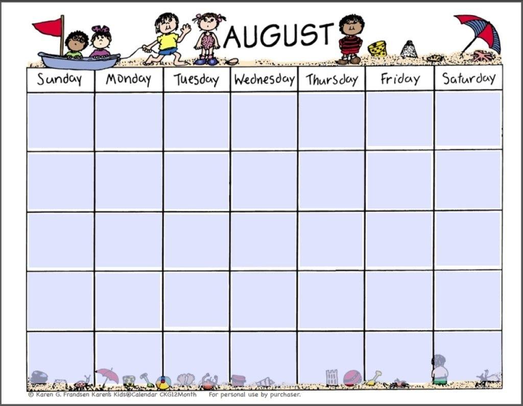 Kids Calendar Template - Karan.ald2014 In Blank Calendar F&N Menu Calendar Templates